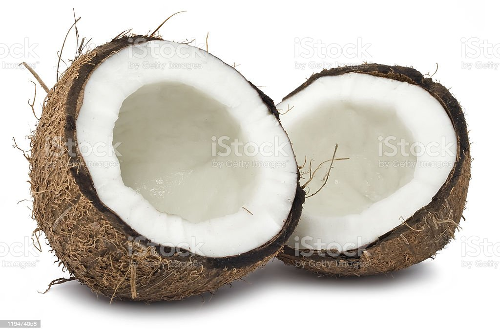 Halved coconut on a white background stock photo