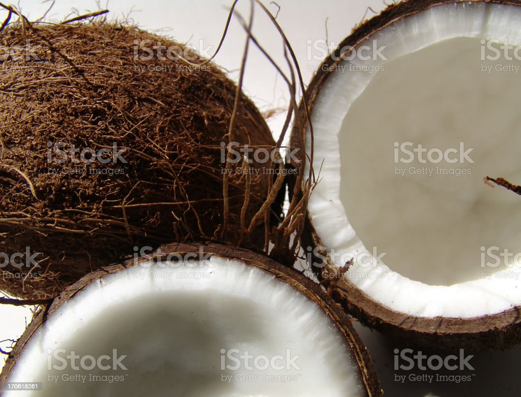 Halved coconut ready for the study royalty-free stock photo