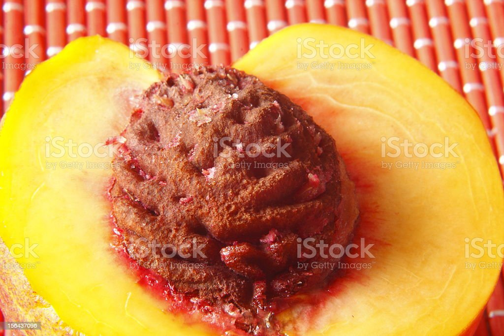 halved peach royalty-free stock photo