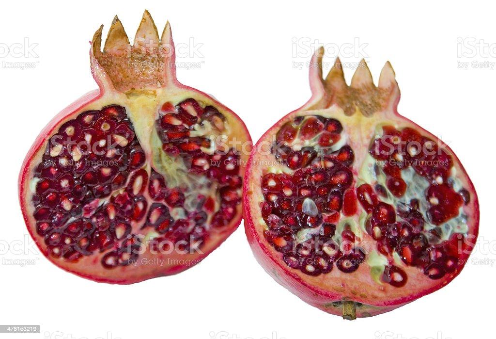 Halved Pomegranate Cut stock photo