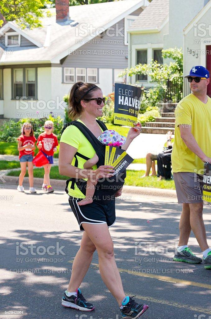 Halverson Supporter at Parade stock photo