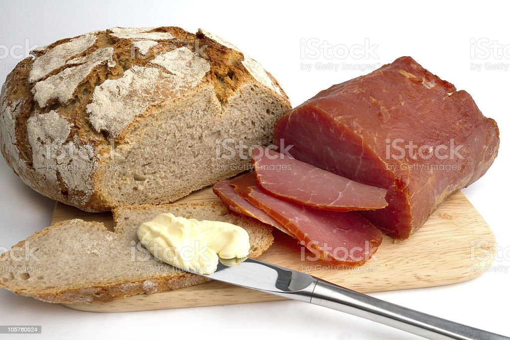 Ham and bread royalty-free stock photo