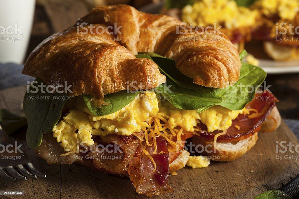 Ham and Cheese Egg Breakfast Sandwich stock photo