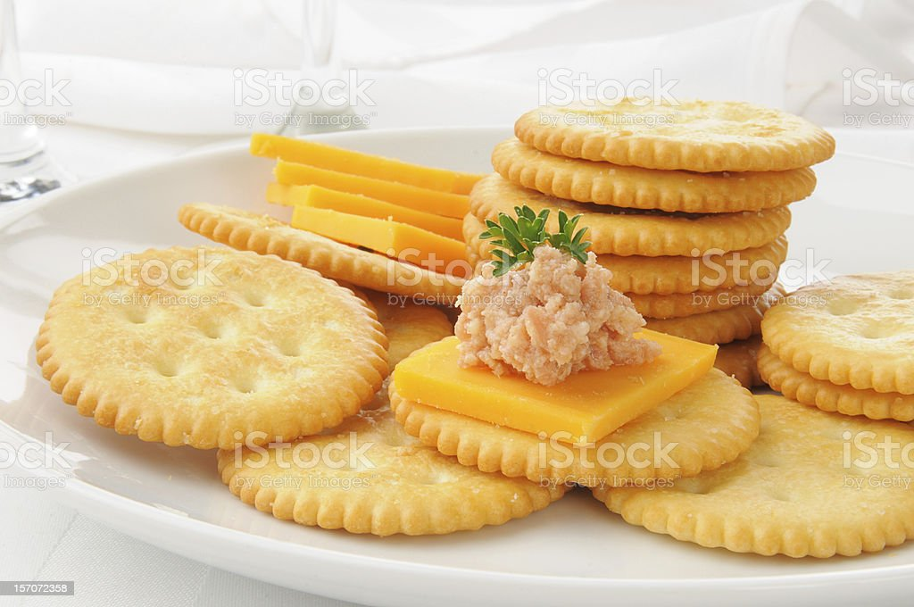 Ham and cheese on crackers stock photo