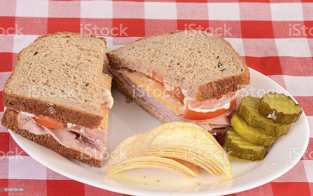 Ham and Cheese on Multi Grain Bread stock photo