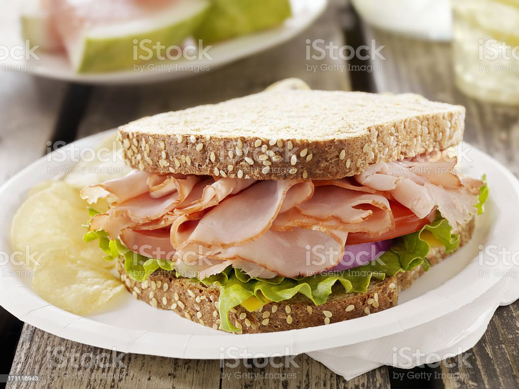 Ham and Cheese Sandwich at a Picnic stock photo