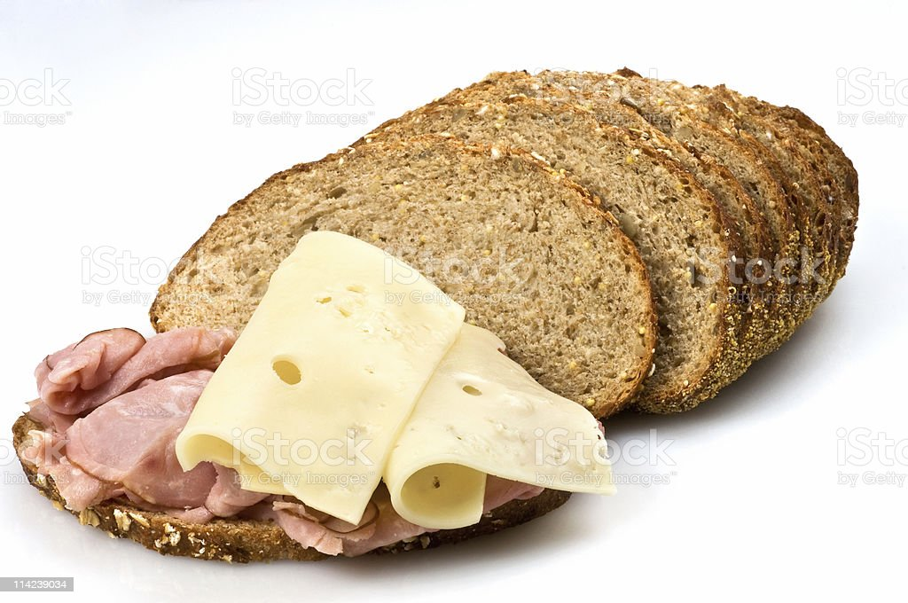 Ham and cheese sandwich in whole wheat bread royalty-free stock photo