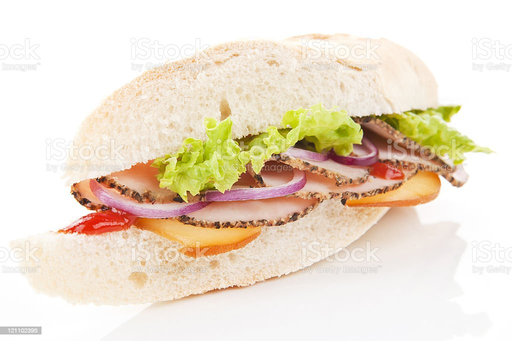Ham and cheese sandwich. stock photo