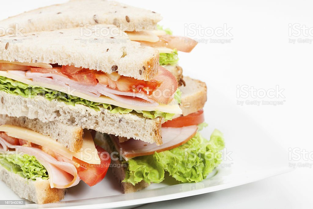 Ham and cheese sandwiches stock photo