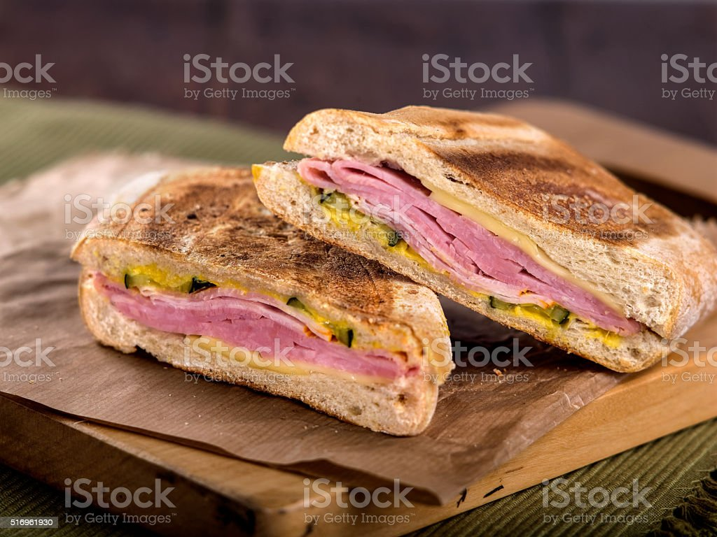 Ham and Cheese Toasted Panini Sandwich stock photo