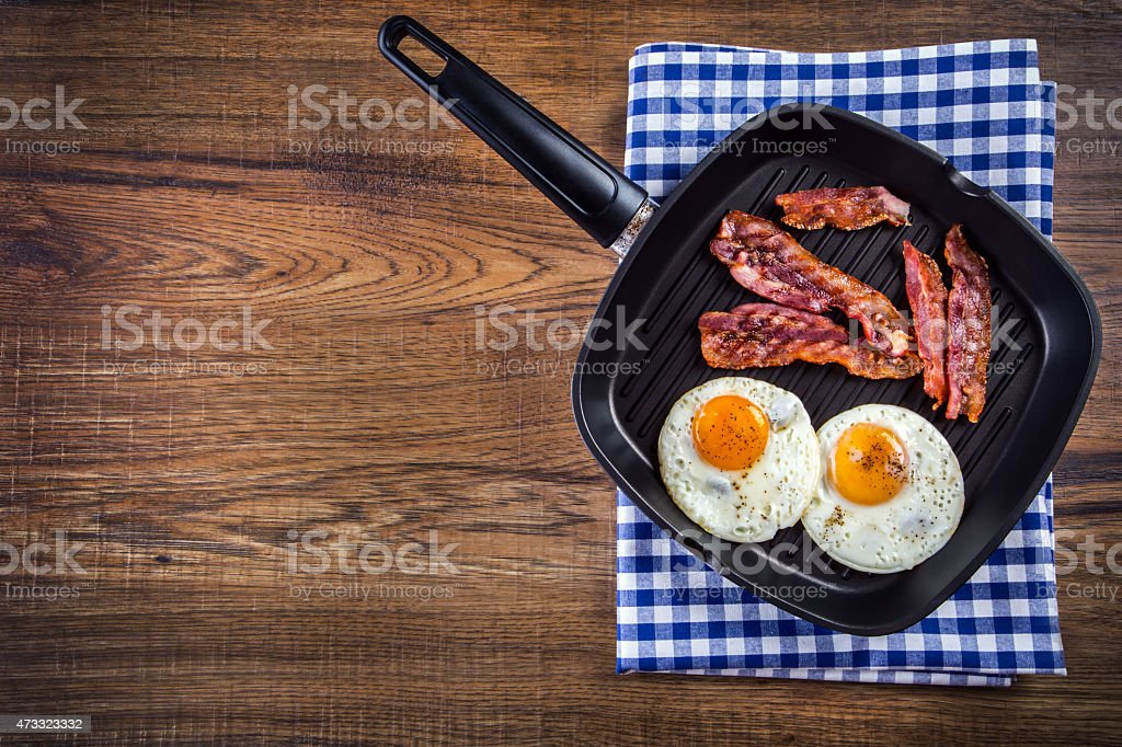 Ham and Egg. Bacon and Egg. English breakfast stock photo