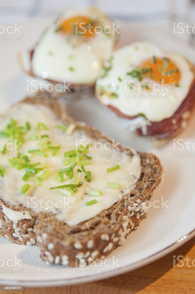 Ham and Eggs Cupcakes stock photo