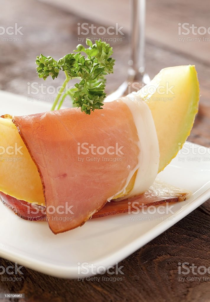 ham and melon royalty-free stock photo