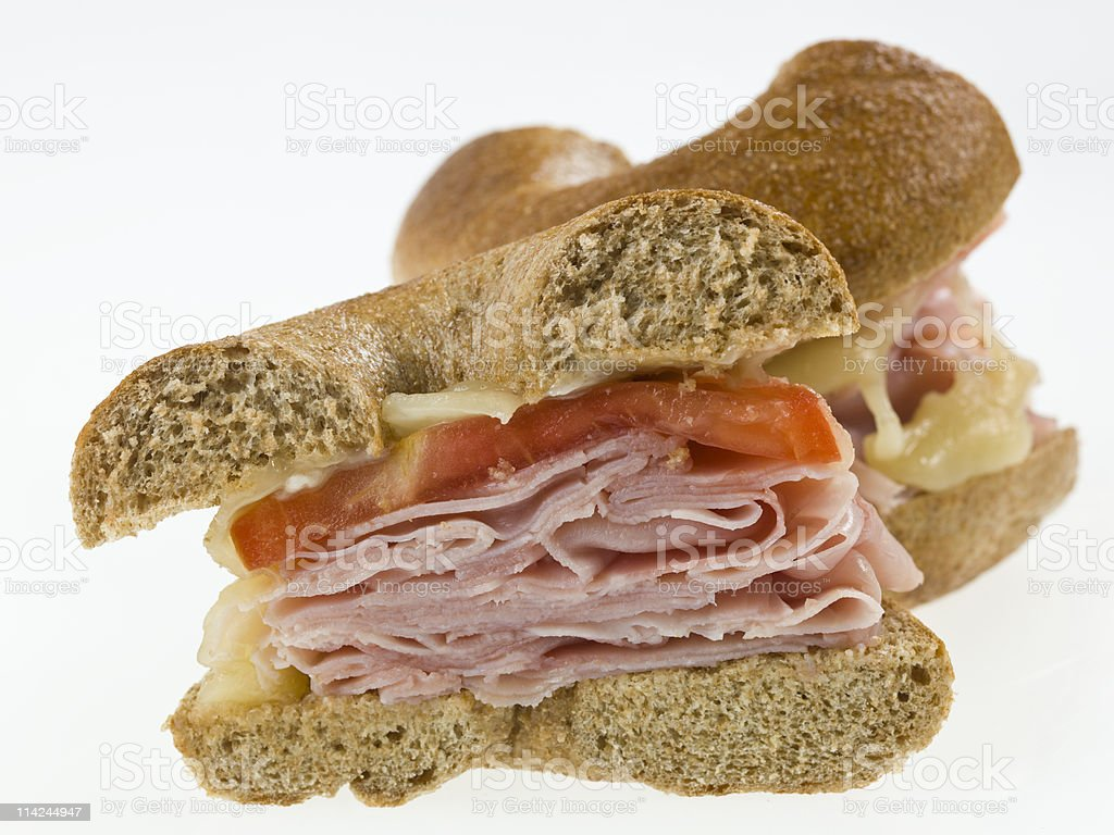 Ham and melted cheese bagel sandwich royalty-free stock photo