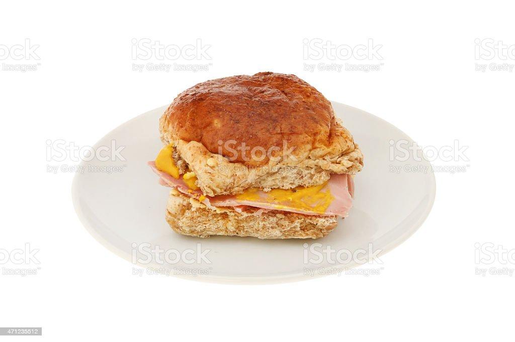 Ham and mustard roll stock photo