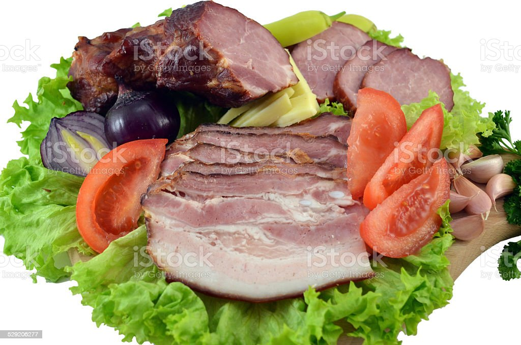 Ham and Prosciutto with lettuce and vegetables royalty-free stock photo