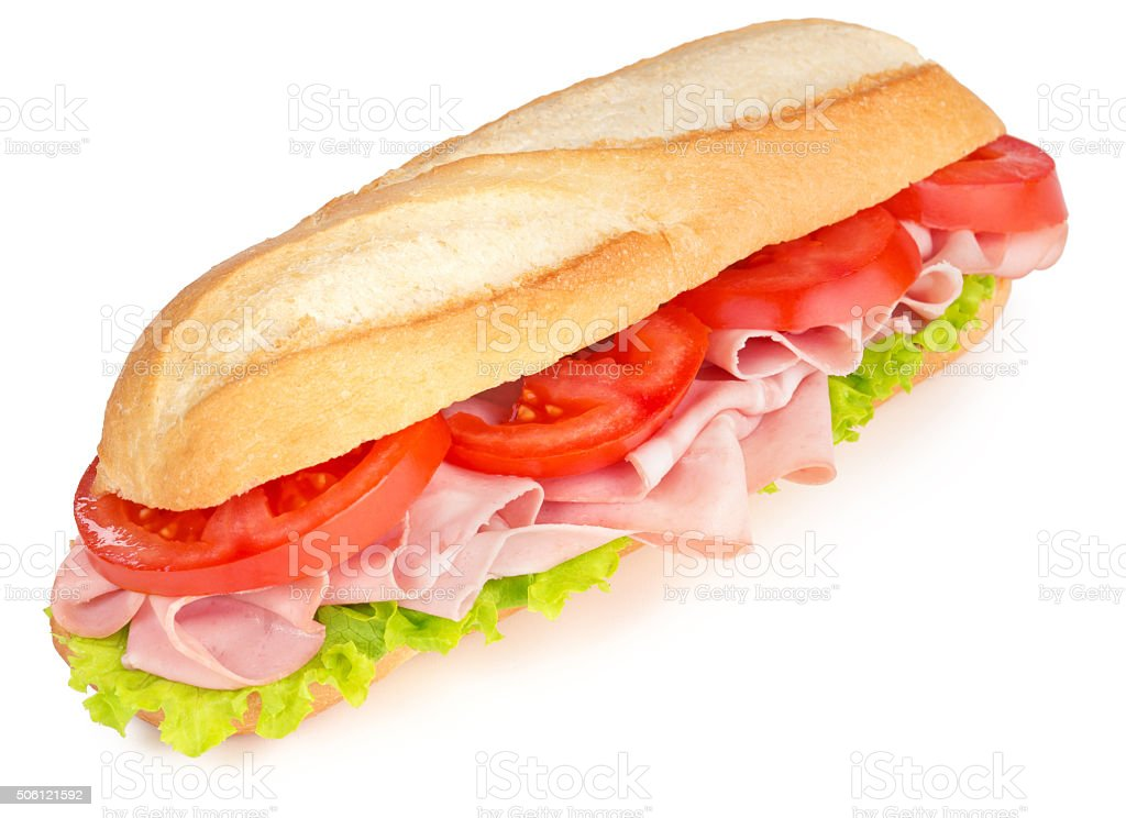 ham and tomato sandwich stock photo