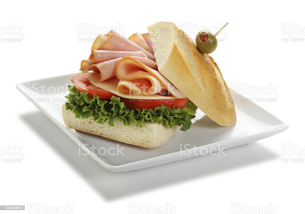 Ham and Turkey Sandwich Isolated on White stock photo
