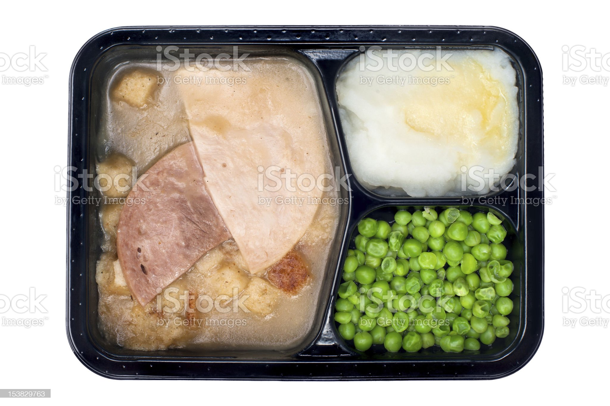 Ham and turkey TV dinner royalty-free stock photo