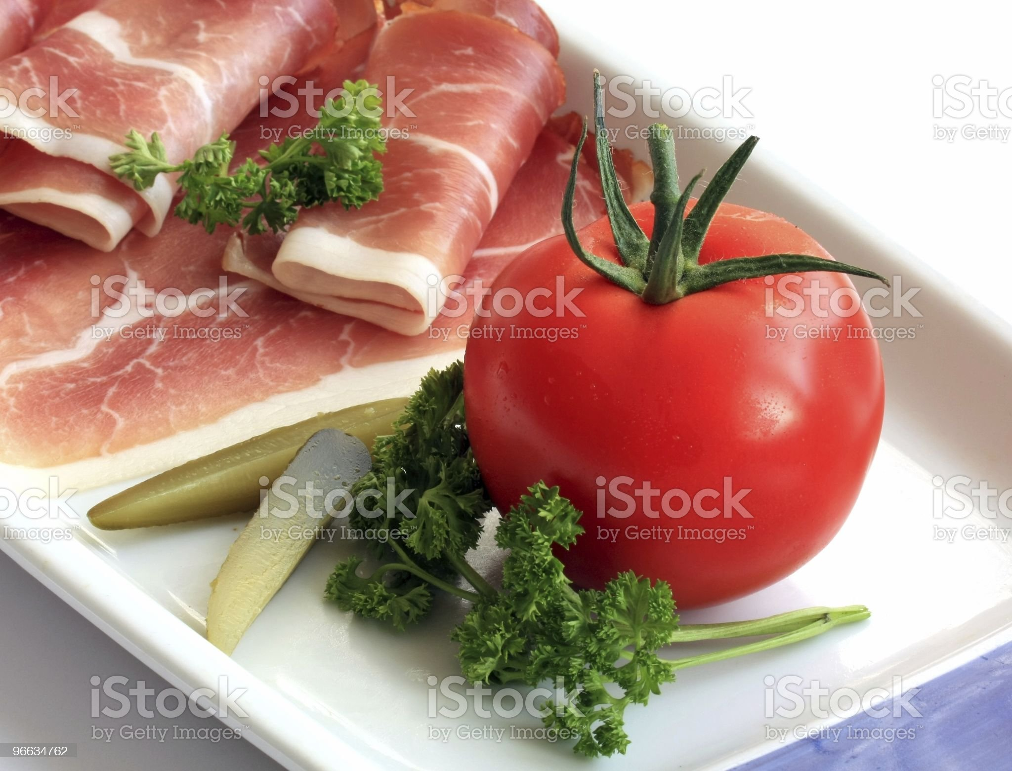Ham and vegetable royalty-free stock photo
