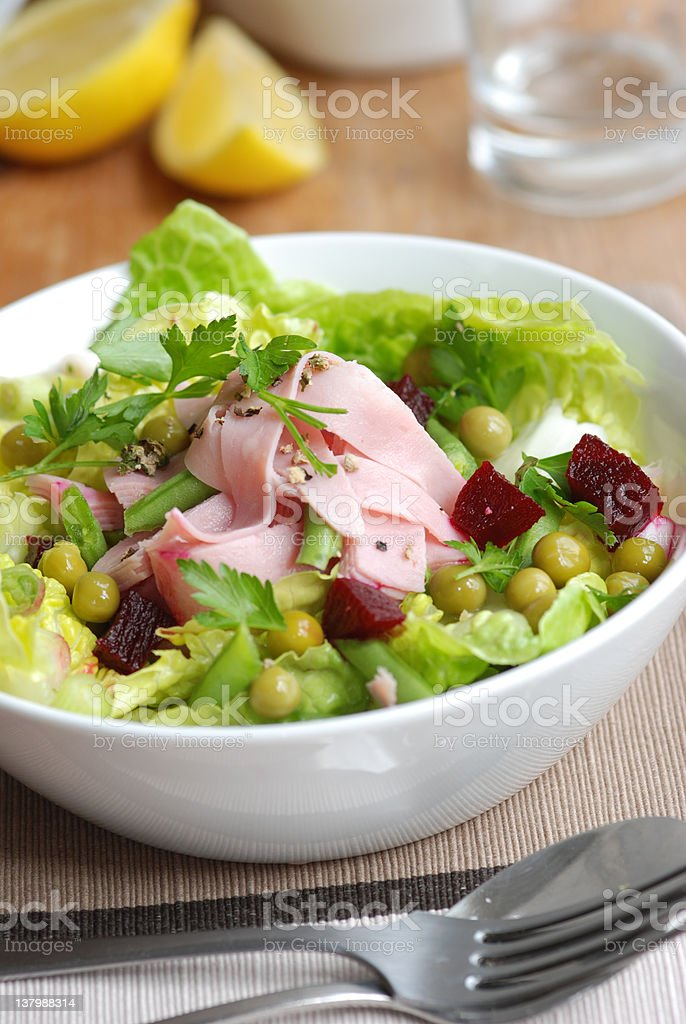 Ham and vegetable salad royalty-free stock photo