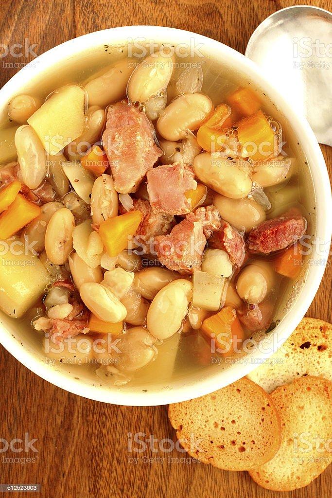 Ham and white bean soup stock photo