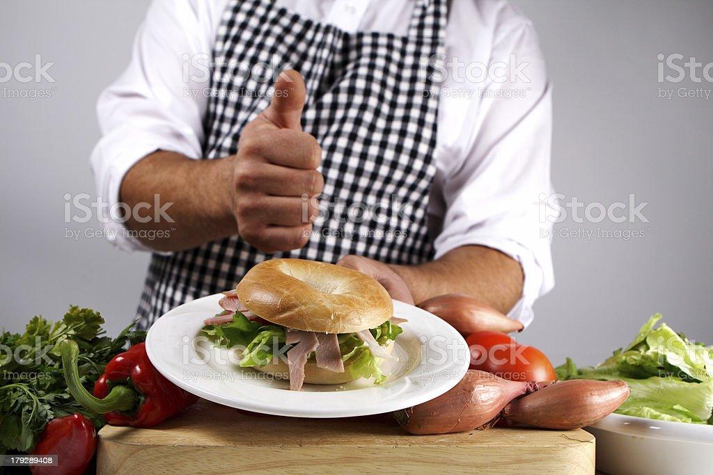 Ham bagel royalty-free stock photo