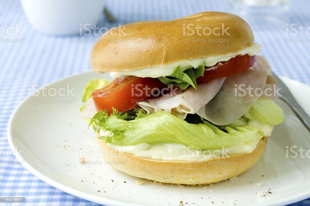 Ham bagel stock photo