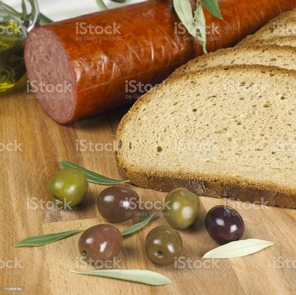 Ham, bread and olives royalty-free stock photo