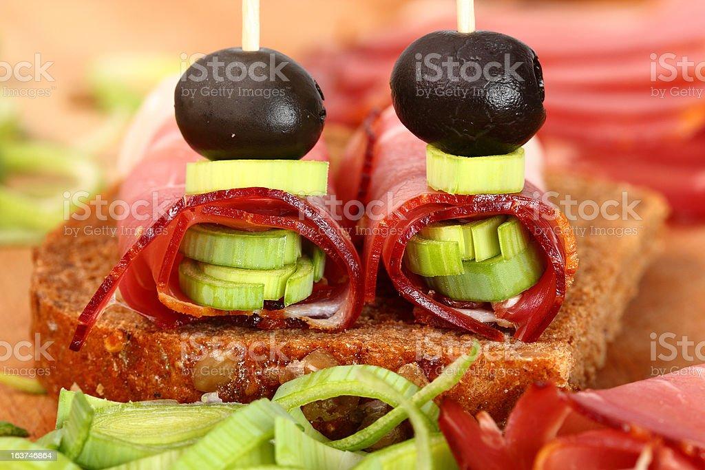 Ham Canapes royalty-free stock photo