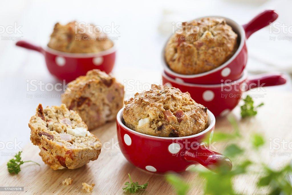 Ham, cheese and tomato muffins stock photo