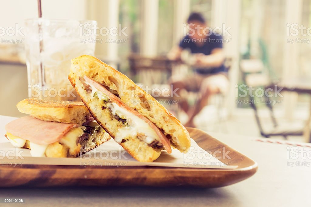 ham cheese Cuban sandwich stock photo