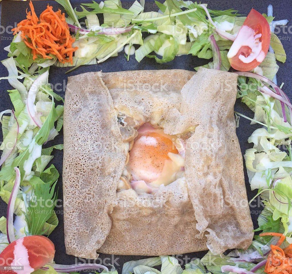 Ham & Egg Crepe Square stock photo