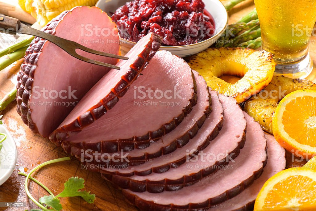 Ham in slices stock photo