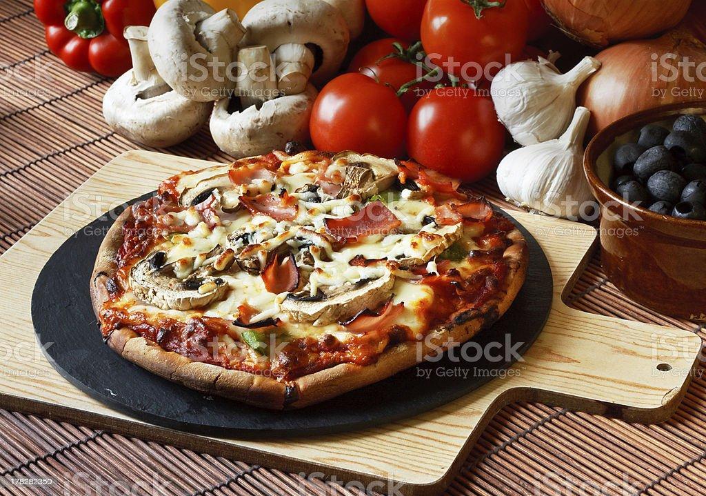 Ham & Mushroom Pizza stock photo