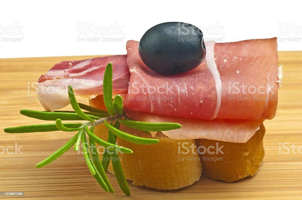 ham of Spain Jamon Serrrano stock photo