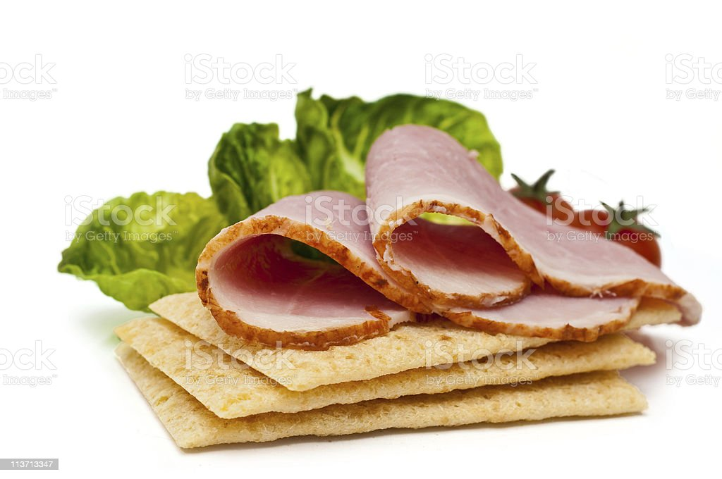 ham on crispbread royalty-free stock photo