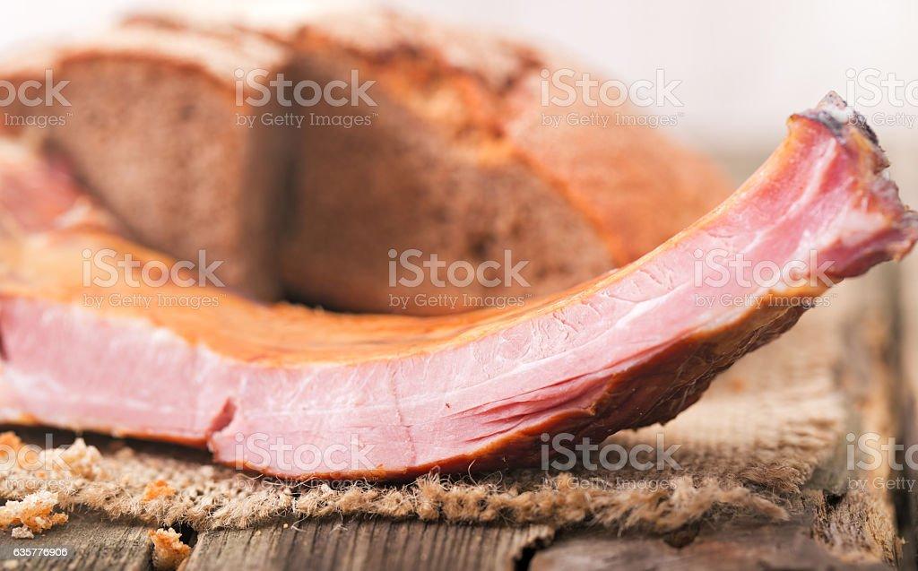 Ham on edges close up. stock photo