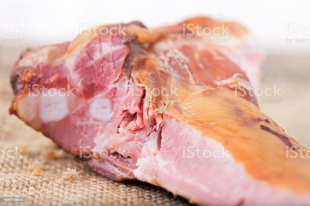 Ham on edges close up stock photo