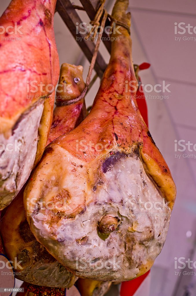 ham on the bone and spices, salt, pepper stock photo