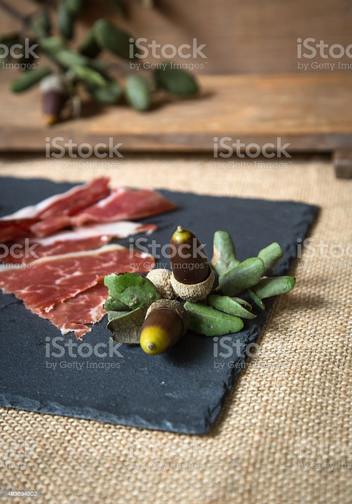 Ham on wooden board stock photo