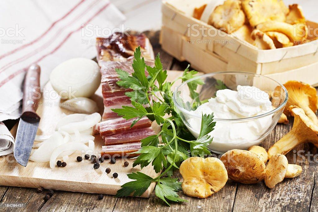 ham onion chanterelle cream recipe royalty-free stock photo