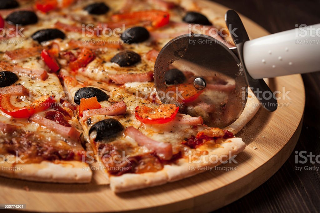 Ham pizza stock photo