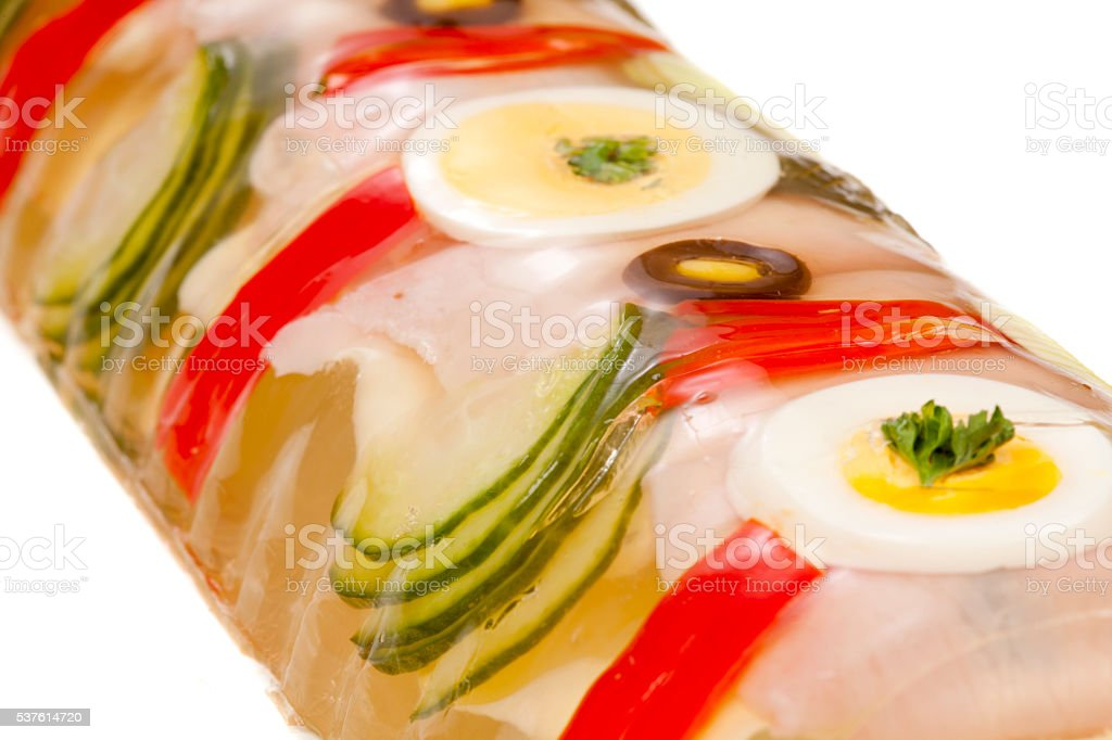 Ham roll in aspic stock photo
