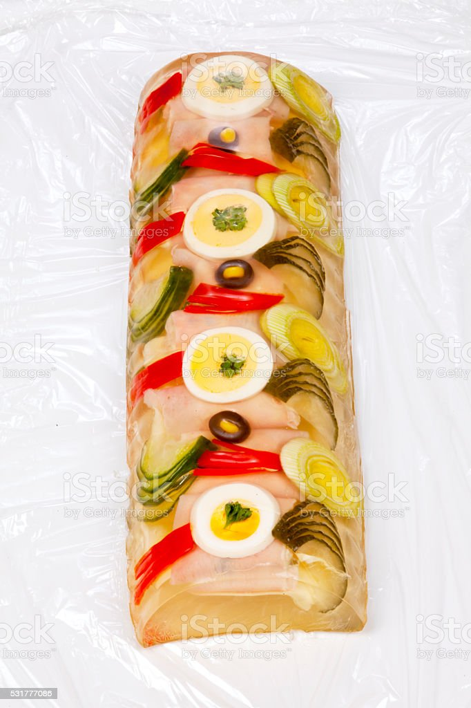 Ham roll in aspic with clipping path stock photo
