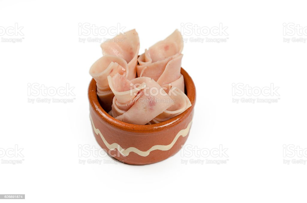 ham rolled in a small cup stock photo