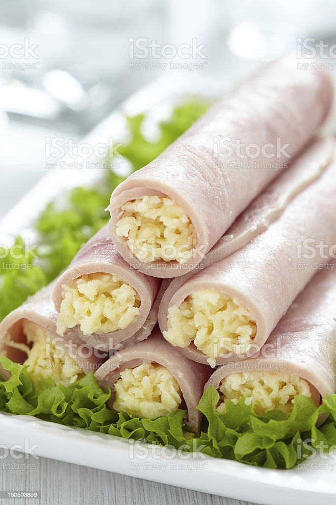 Ham rolls stuffed with cheese and garlic royalty-free stock photo