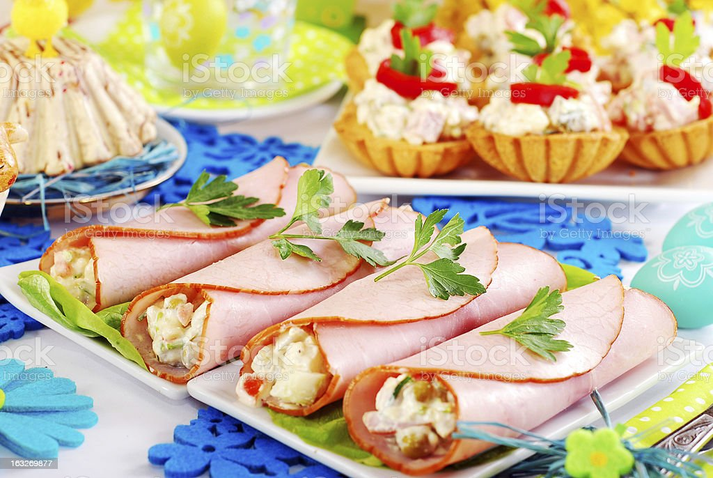 ham rolls stuffed with vegetable salad and mayonnaise royalty-free stock photo