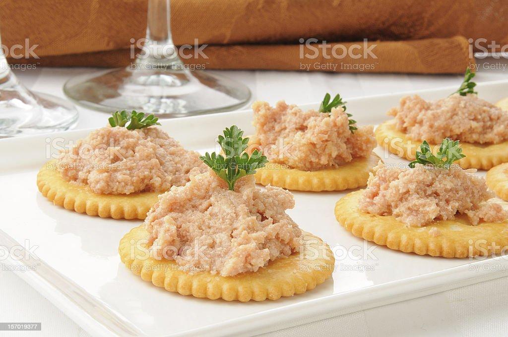 Ham salad on crackers stock photo