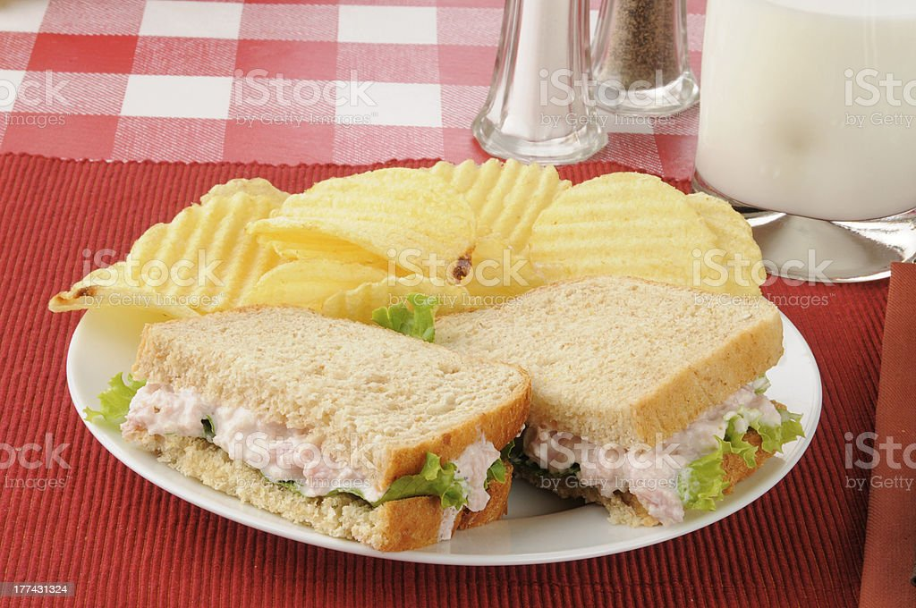 Ham salad sandwich with chips stock photo